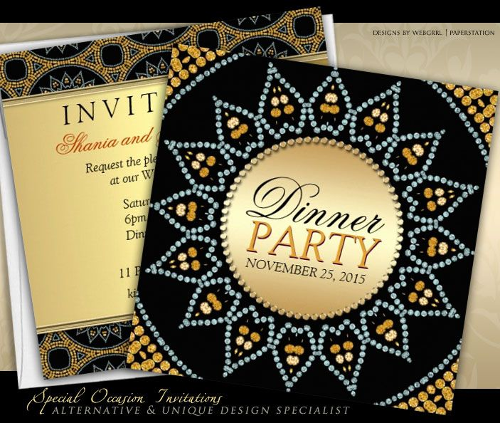 exotic sparkle sunflower dinner party invitations Golden Dinner – Moroccan Party Invitations