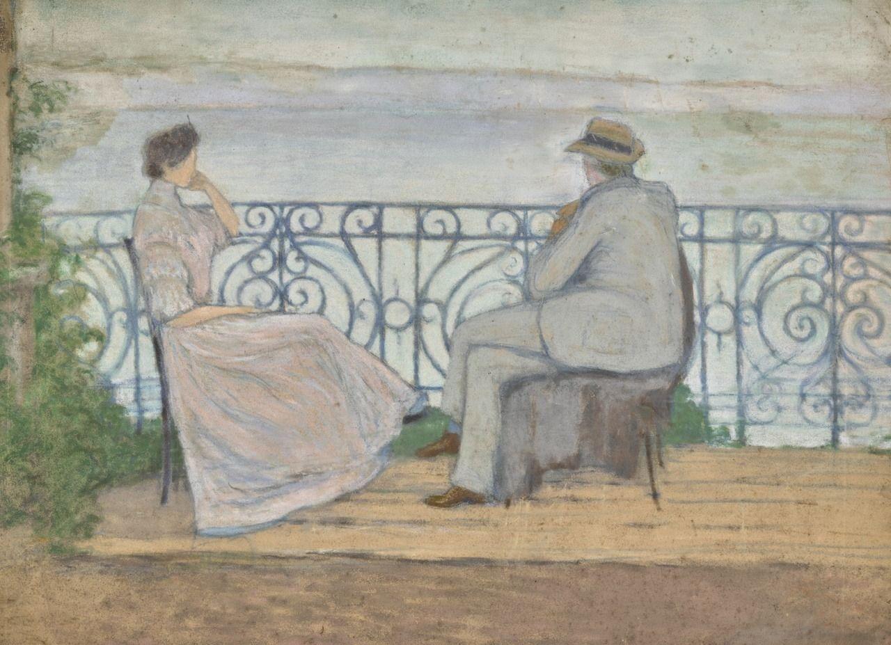 Couple By A Lake Jozsef Rippl Ronai 1891 Hungarian 1861 1927 Pastel On Paper 38 X 51 Cm 15 X 20 In Artist Art Storage Art