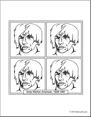 Clip Art Artists Andy Warhol Coloring Page I Abcteach Com Large Image Pop Art Black And White Drawing Andy Warhol