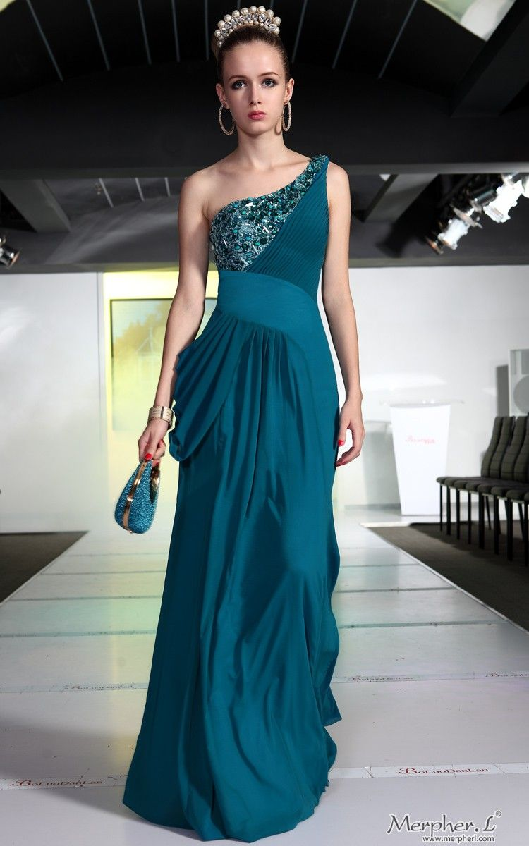 Bridesmaid ball cyan one shoulder chiffon beadingspattern long