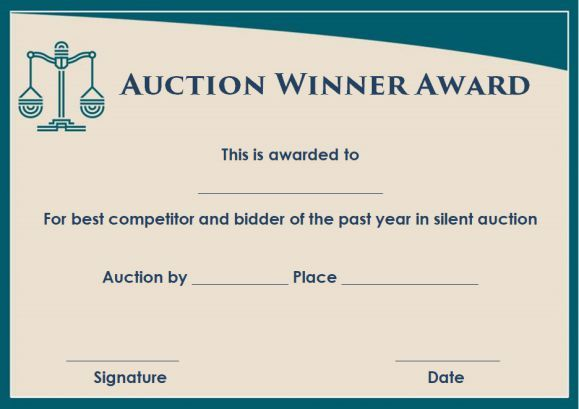 Silent Auction Winner Certificate Template Sample Silent Auction