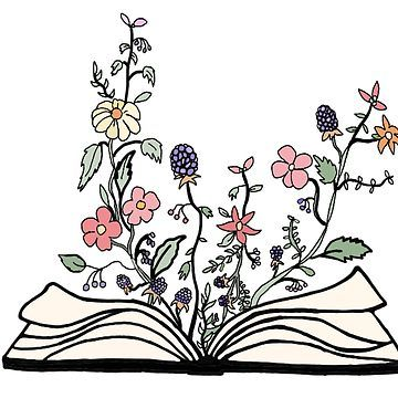 """""""flowers growing from book """" Sticker by andilynnf   Redbubble"""