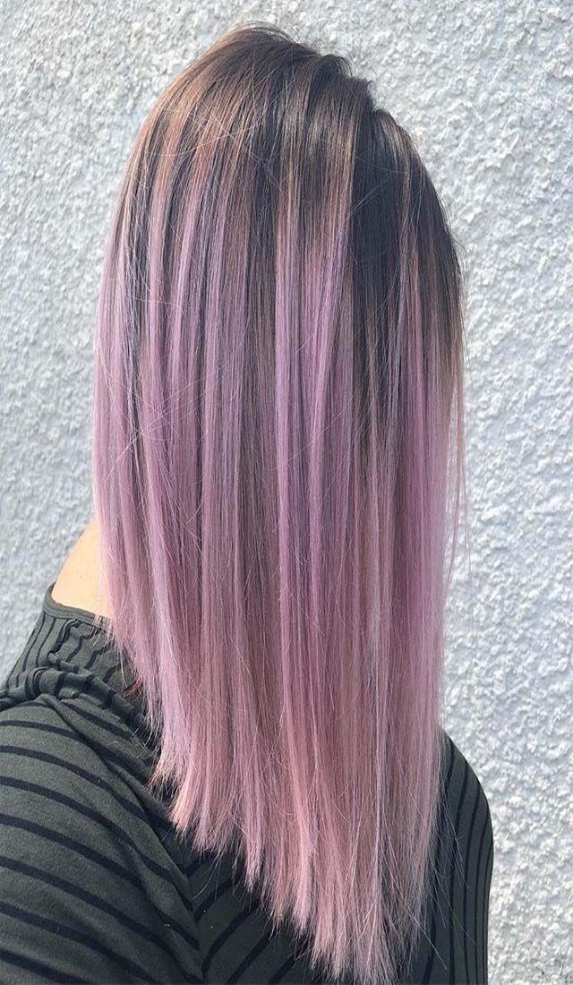 Purple long bob haircut for imaginary look