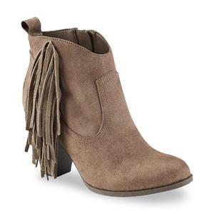 Women's Willow Taupe Fringe Western Ankle Boot Kmart