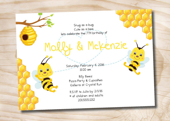 Bee Birthday Party Invitation 6th 7th 8th 9th 10th Boy Girl