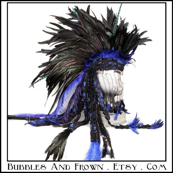 """""""Deep Night"""" Feather Mohawk in black and blue with silver metal gypsy veil."""