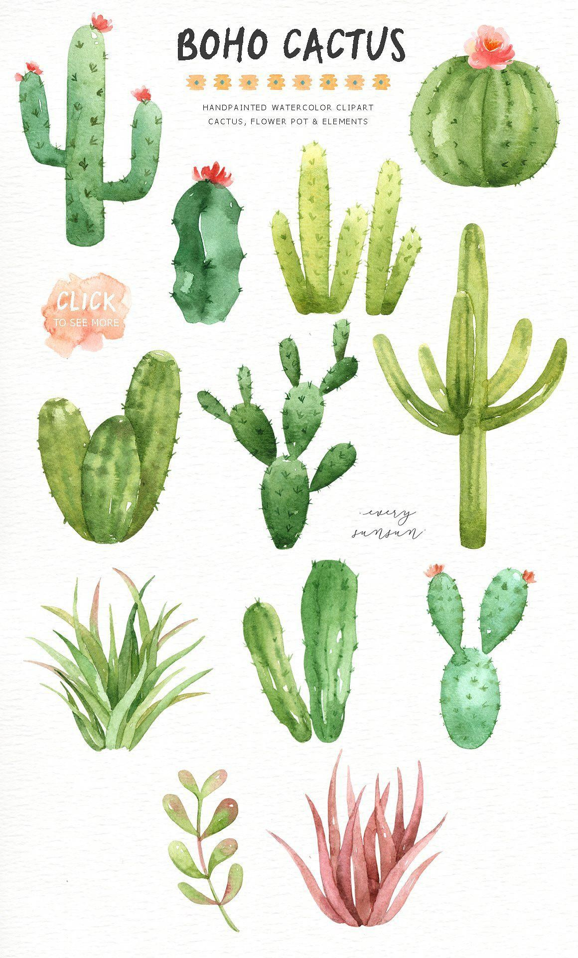 Boho Cactus Watercolor Clip Arts By Everysunsun On Creativemarket
