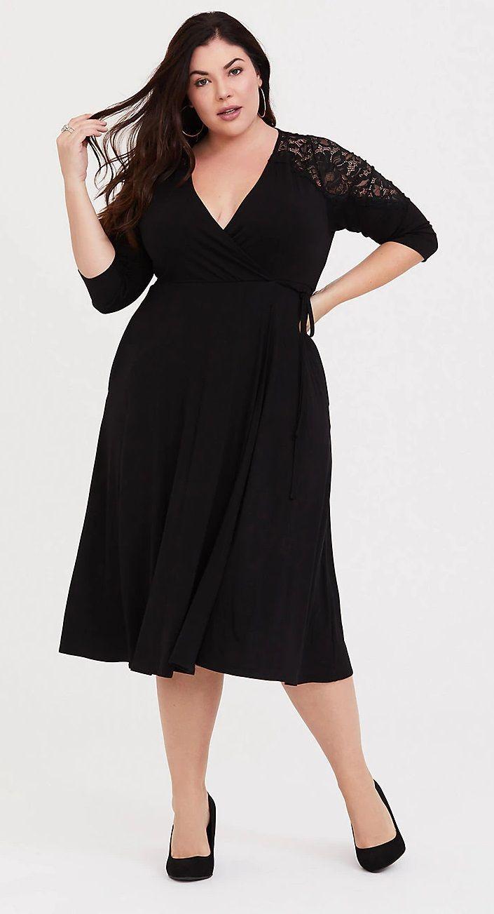 Black Lace Inset Jersey Wrap Dress | Dress plus size
