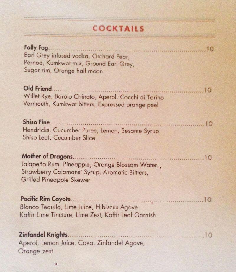 First Look At The Menu From James Island S Screen Door Infused Vodka Sugar Rim Aperol