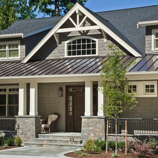 Silver Metal Roof Design Ideas Pictures Remodel And Decor Lake Houses Exterior Metal Roof Houses Exterior House Colors