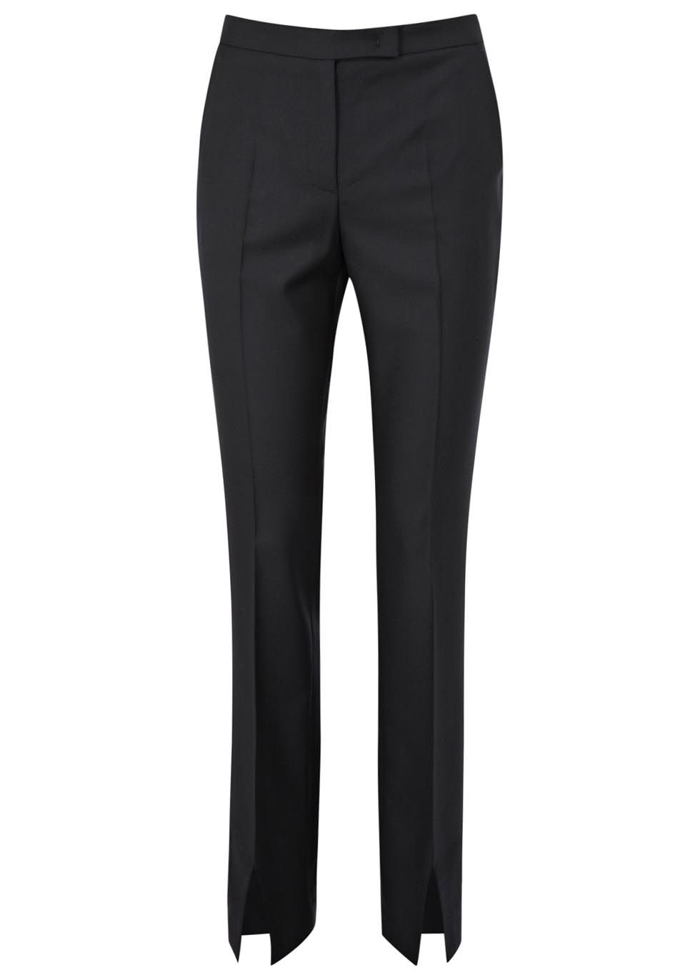 KARL LAGERFELD black wool twill trousers Slim leg, two side slant pockets, pressed creases through front, two back slit pockets, slit cuffs Concealed zip, hook and button fastenings at front  100% wool; pocket lining: 49% acetate, 51% viscose �