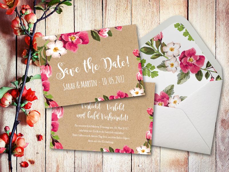 Einladungskarten   Einladungskarten Hochzeit Set Aquarell A6   Ein  Designerstück Von DotLA Grafik Bei DaWanda
