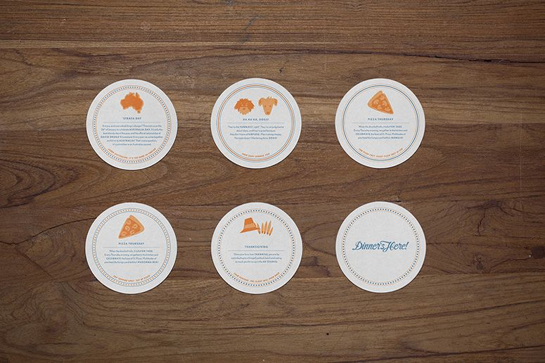 Dinner S Here Droga5 Placemats And Coasters Placemats Restaurant Branding Coasters