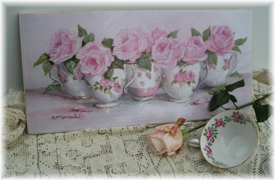 Ready to Hang Print - Row of China Tea Cups-POSTAGE included Australia wide