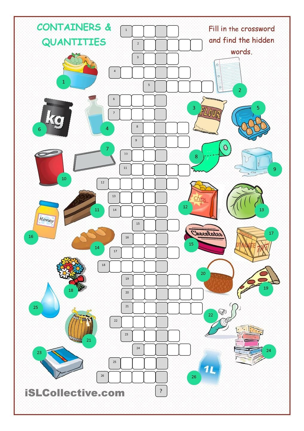 Containers & Quantities Crossword Puzzle | countable and uncountable ...