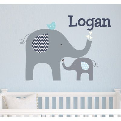 Alphabet Garden Designs Elephant Love Wall Decal Vinyl Color: Terracotta  Spice, Decal Fabric Color: Blue | Garden Design | Pinterest | Wall Decals,  ...
