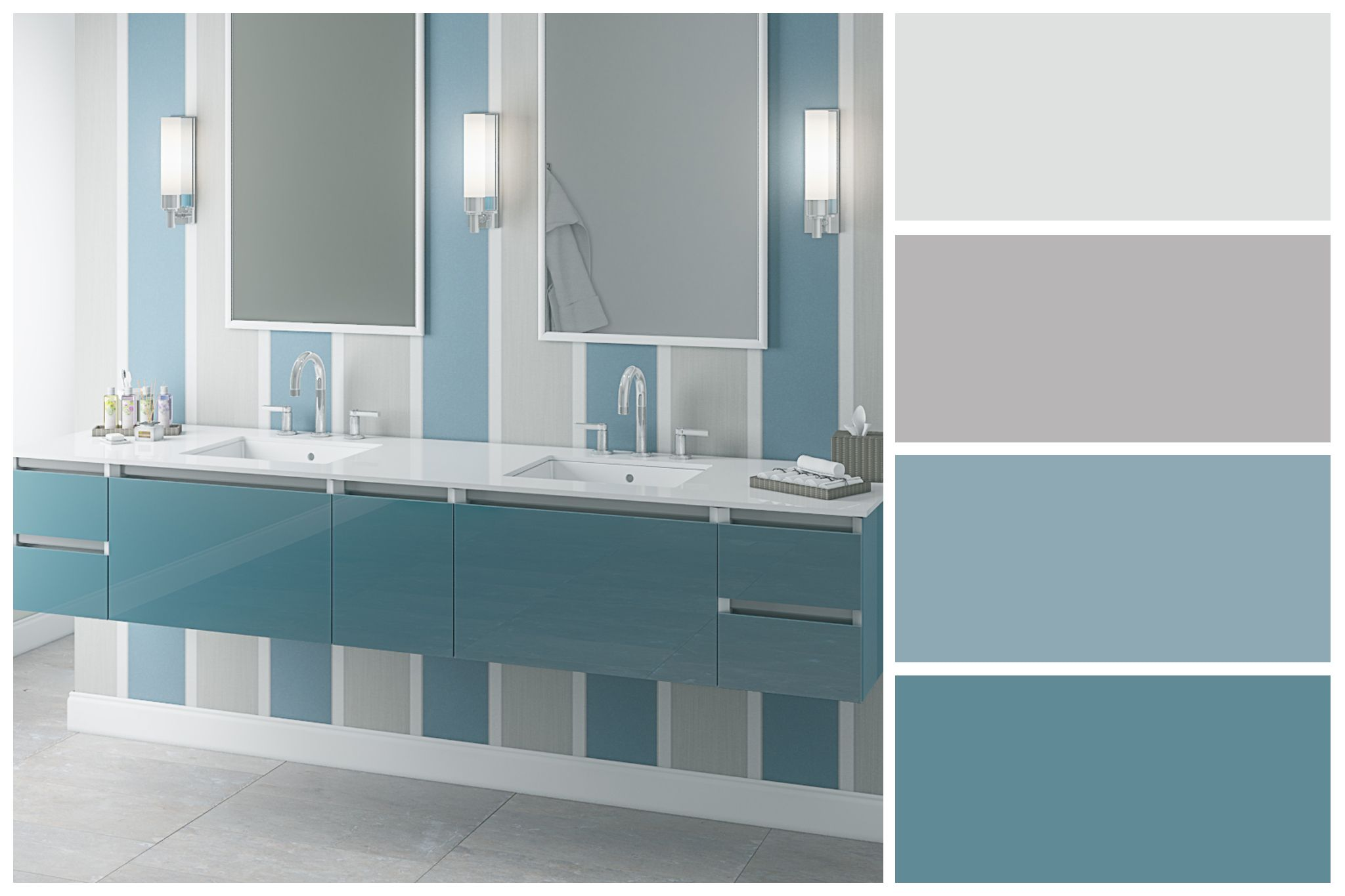 Beachy Blue Bathroom Color Palette Inspired By The Robern Cartesian Collection Bathroom Color Palette Bathroom Color Blue Bathroom