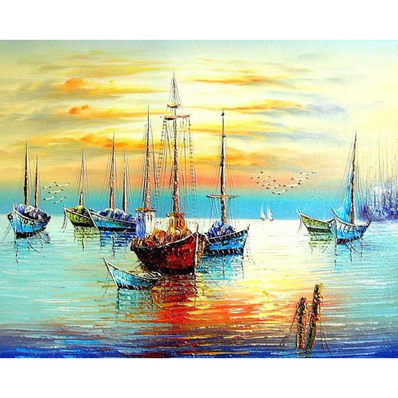 Frameless Sunset Boat DIY Painting By Numbers   Modern wall art and ...