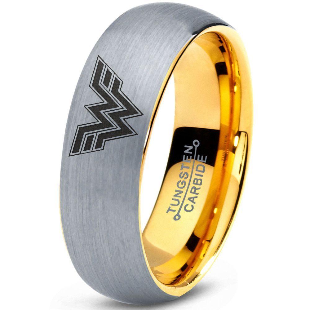 wonder woman wedding ring Wonder Woman Inspired 18k Yellow Gold Silver Dome Tungsten Ring