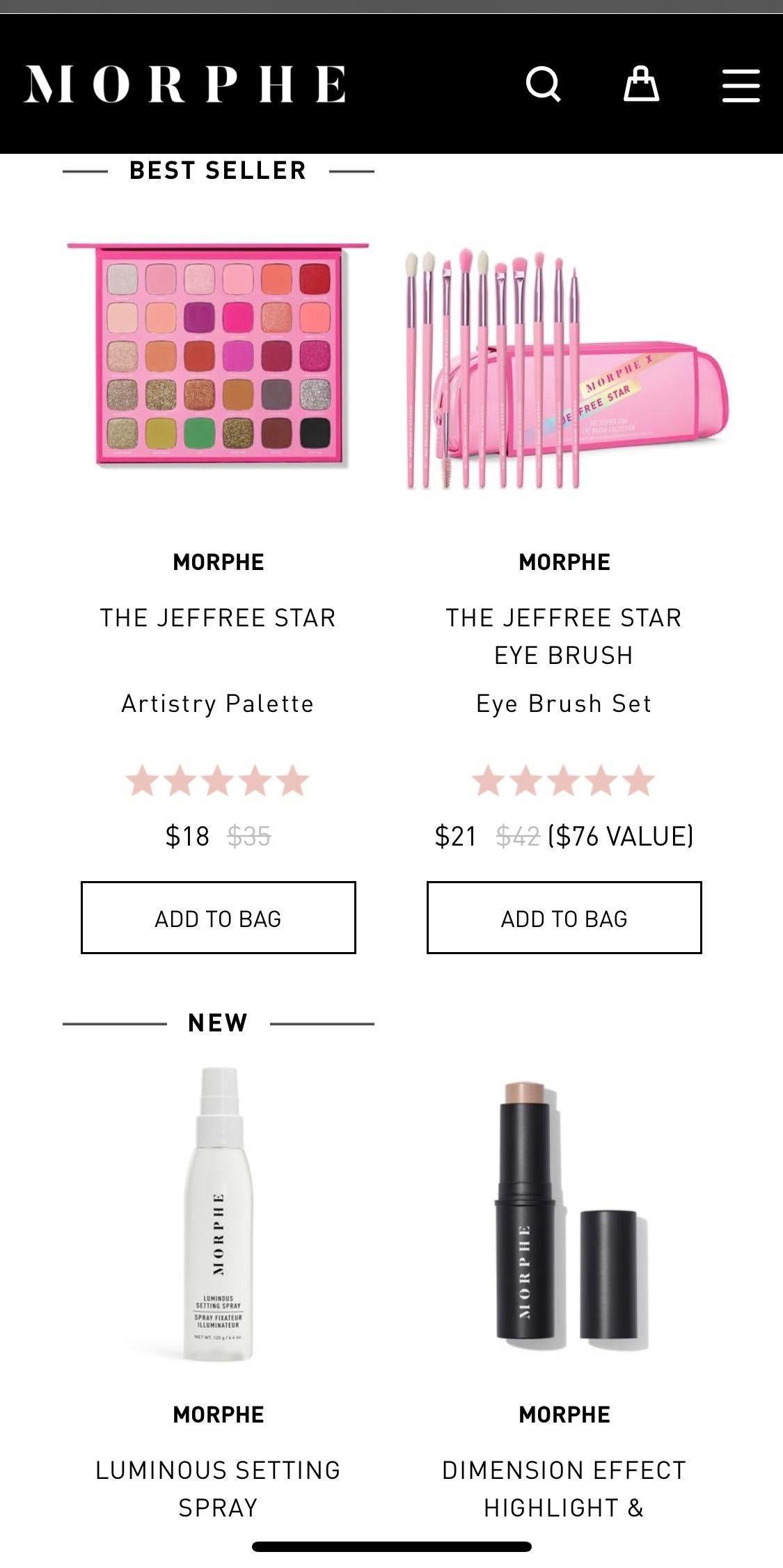 Jeffree Star x Morphe Artistry Palette and Eye brush set