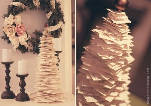 Diy Anthropologie Inspired Printed Paper Pine Tree Shelterness Diy Christmas Tree Christmas Tree Decorations Diy Diy Tree Decor