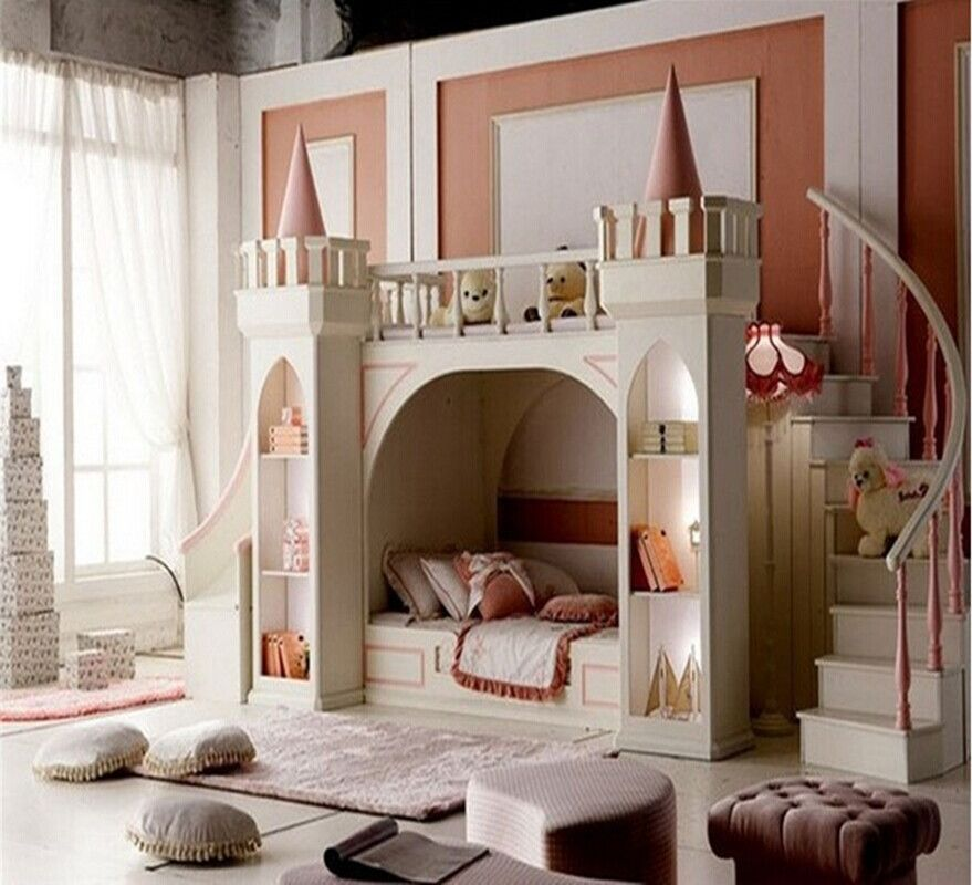 Girls Solid Wood Castle Bed Children Bed Has Stairs And