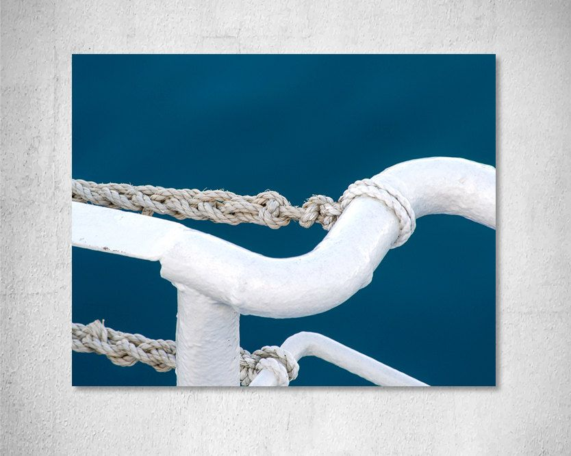 Nautical Photography Rope Photography Sailboat Photo Print Ship Picture Blue White Decoration Nautical Art Decor Home Decor Fine Art Print By Afises