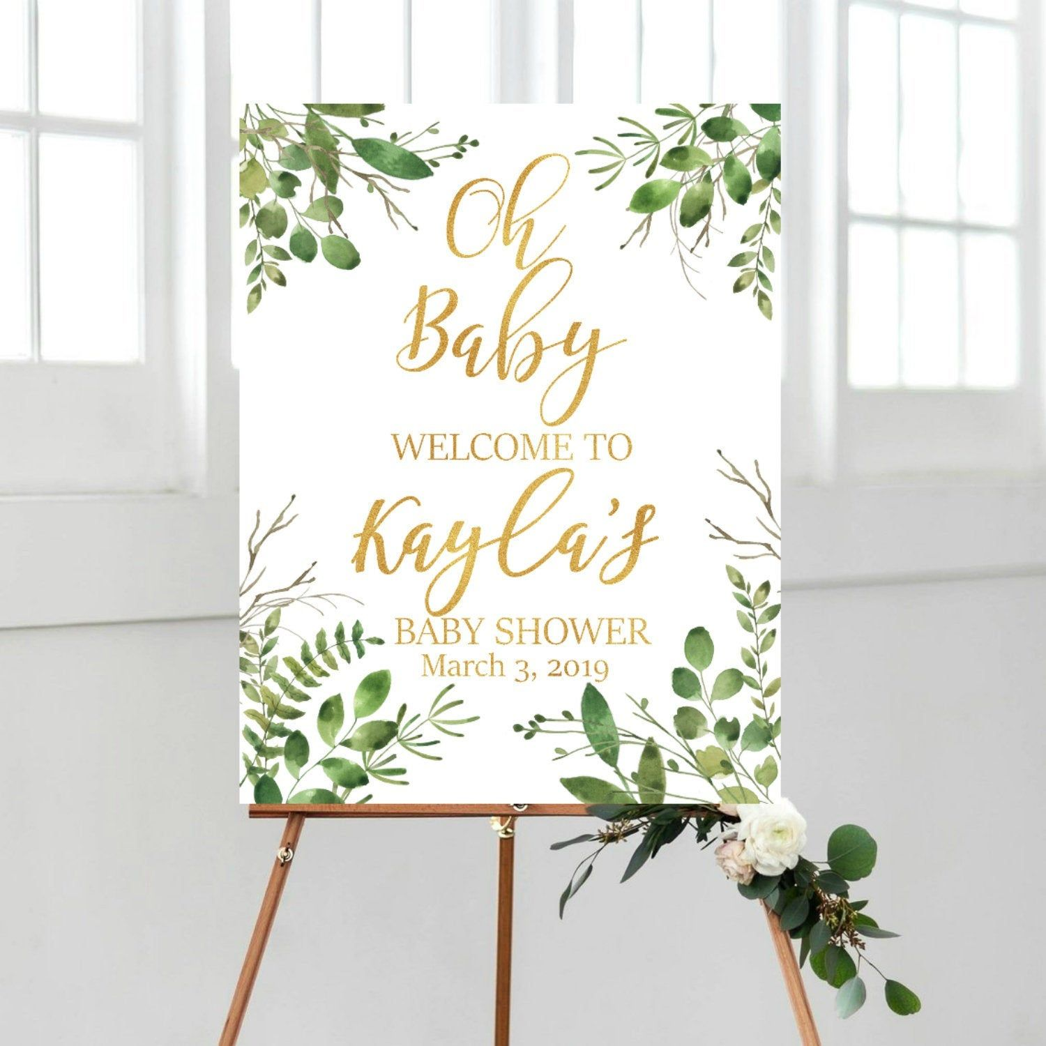 bohemian watercolor greenery thanks for coming sign  eucalyptus gold baby shower baby shower sign gender neutral green floral