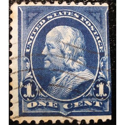 United States Benjamin Franklin One Cent Blue 1895 First Bureau Issue Used Fine Stamps