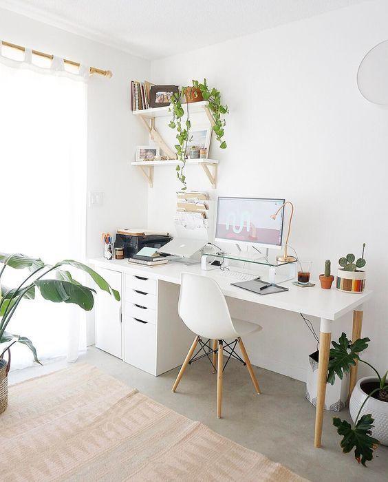 Arbeitsplatzgestaltung, Home-Office-Ideen, kleine Schreibtischideen, schicke Home-Office-Ideen, kleine Home-Office-Ideen ... #computer