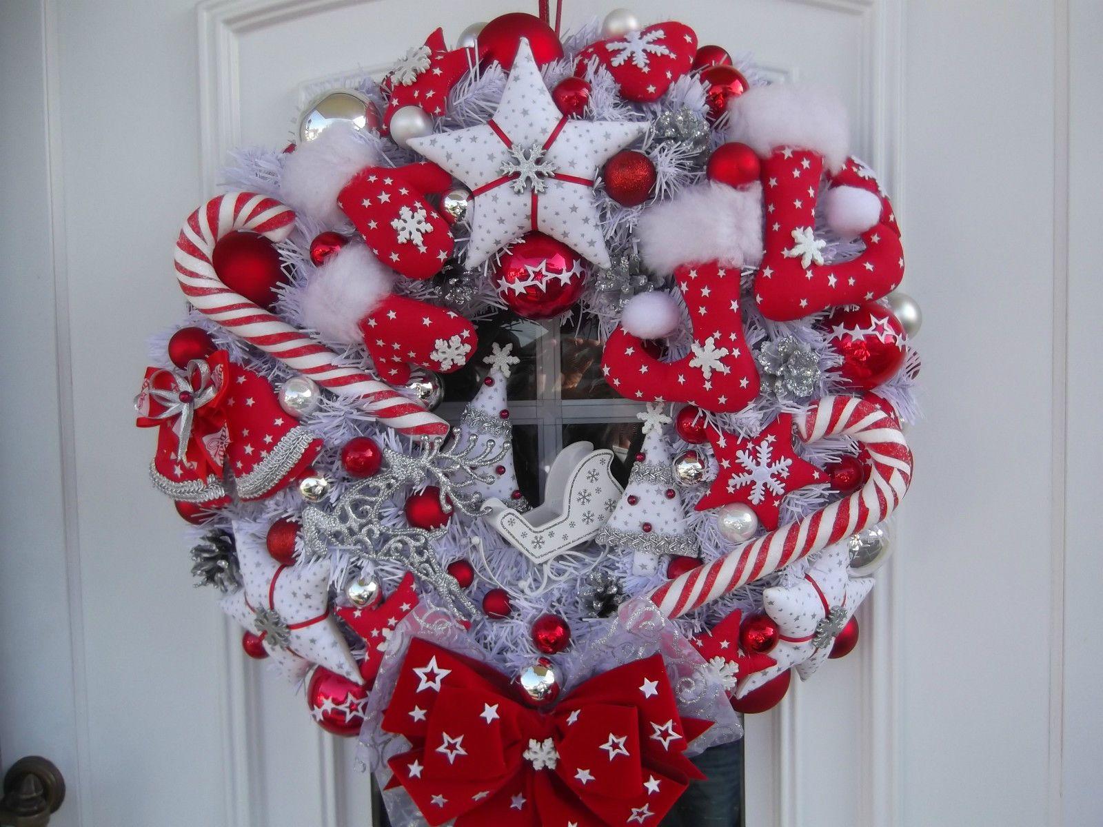 türkranz xxl weihnachten weihnachtskranz rotweißsilber