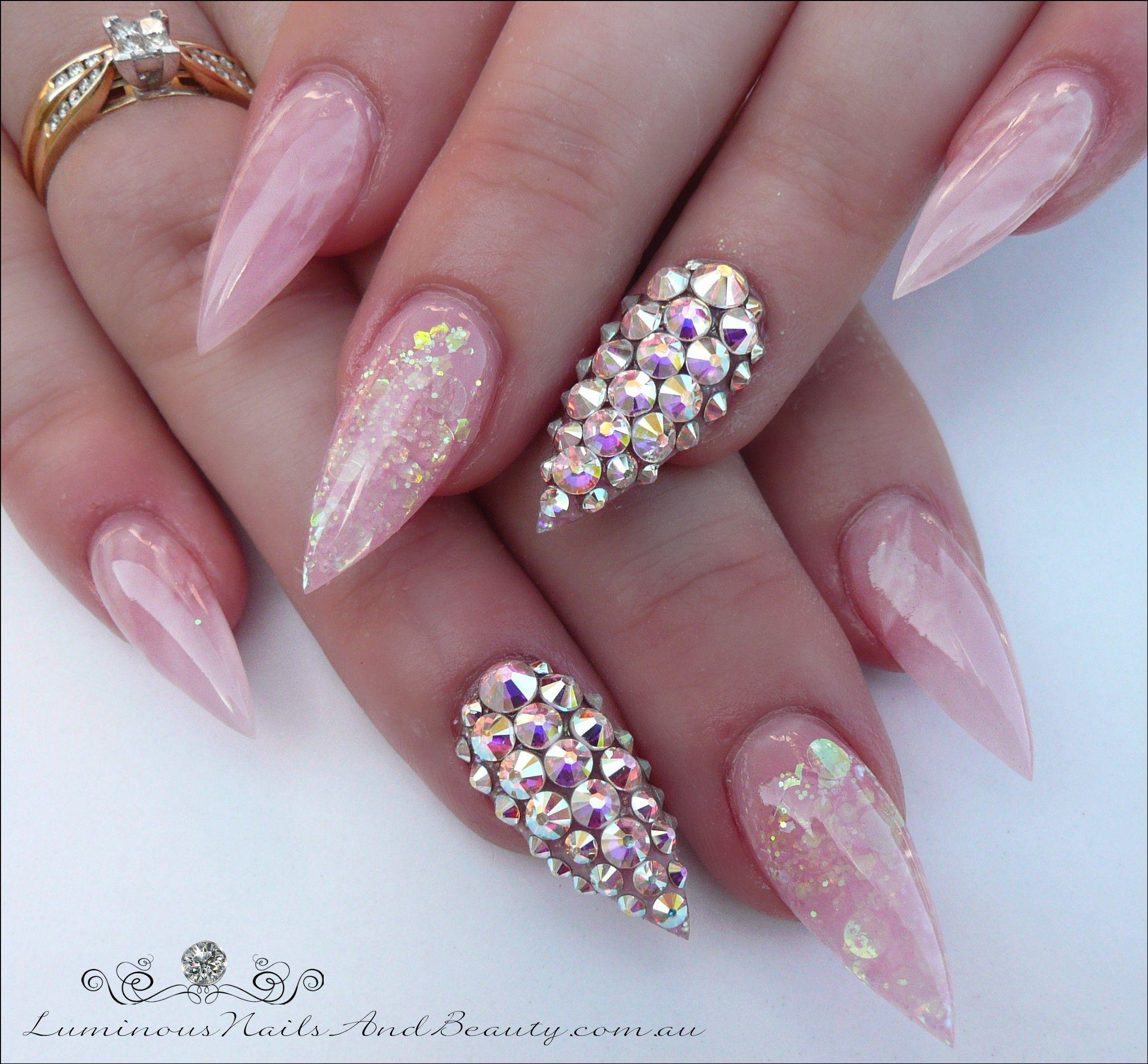 luminous-nails-pink-rose-quartz-pastel-iridescent-pink.-swarovski ...