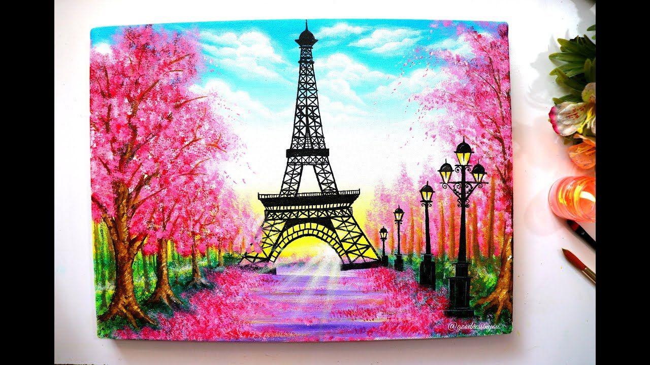 Springtime Cherry Blossom Trees And Eiffel Tower Painting Step By Step Eiffel Tower Painting Cherry Blossom Painting Cherry Blossom Painting Acrylic