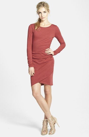 Red ruched long sleeve dress