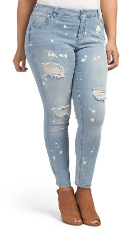 Plus Splatter Destructed Jeans