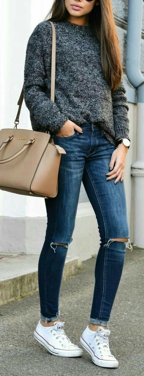creative sueter gris mujer outfit 11