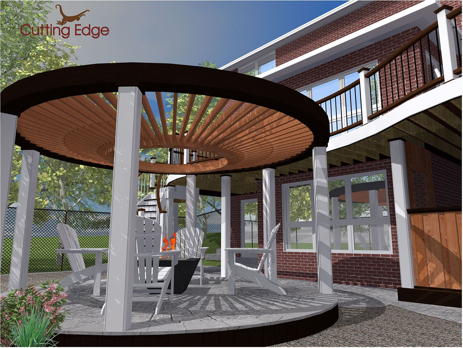 The design phase 3d rendering of the circular pergola for Circular garden decking