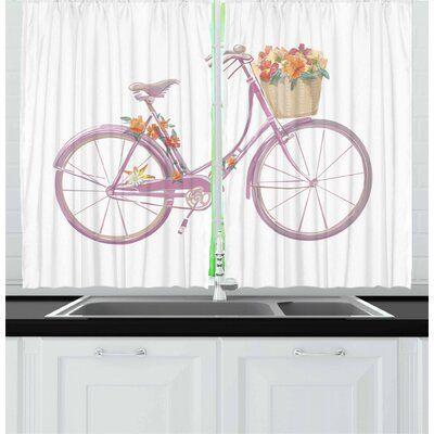 Bicycle 2 Piece Kitchen Curtain Set In 2020 Kitchen Curtain Sets Kitchen Curtains East Urban Home
