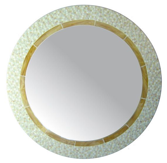 Round Mirror - White, Cream, & Tan Glass Mosaic on Etsy, $658.24 AUD