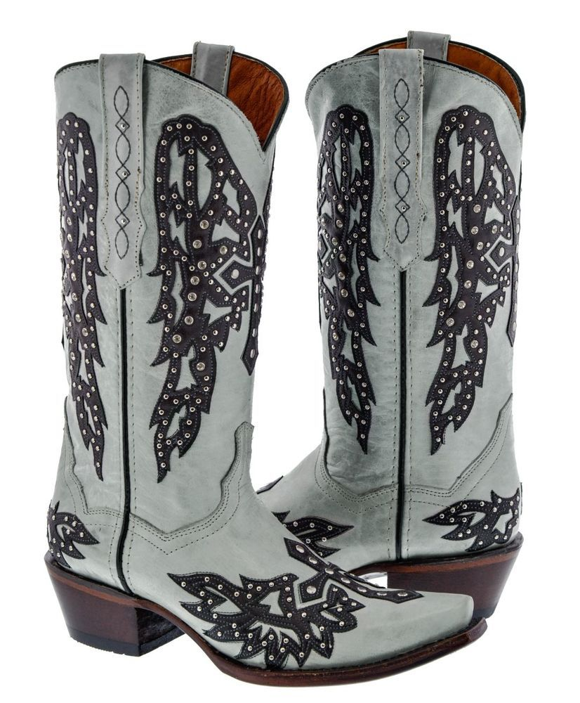 dd96b8ff110b Details about Womens White Studded Cross Wings Design Leather Cowboy ...