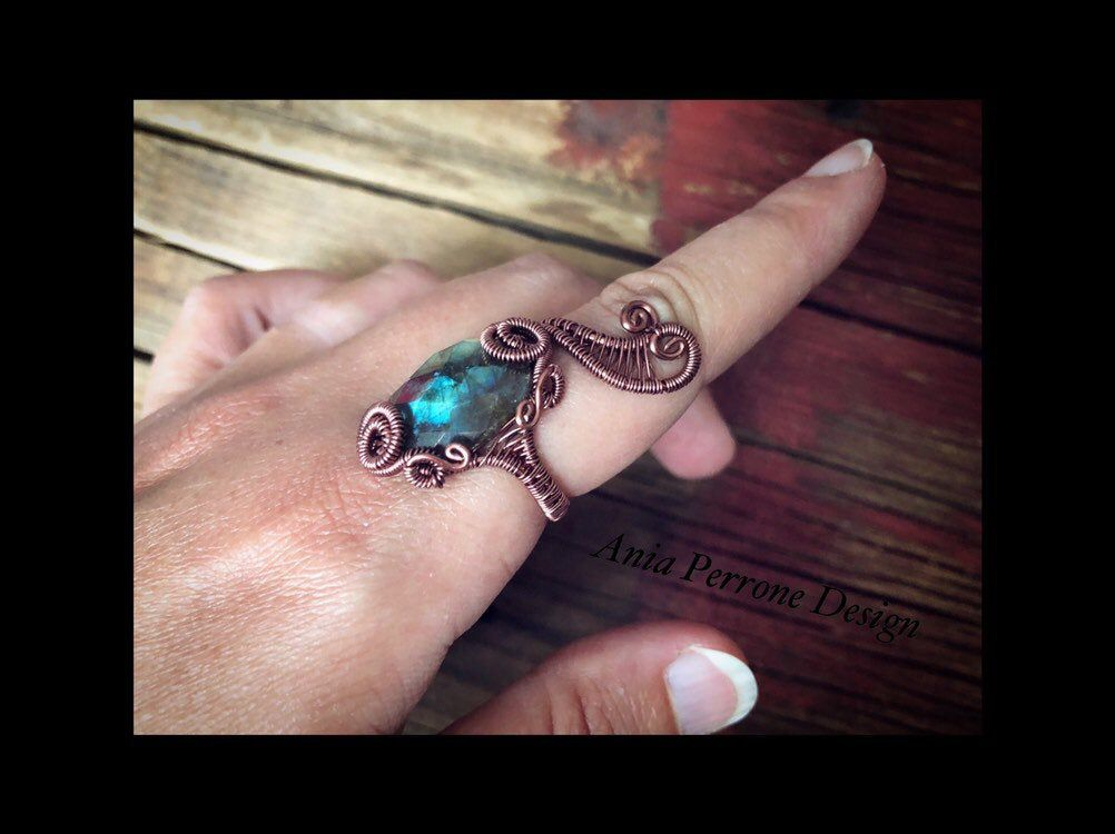 Adjustable Ring Antique Ring Boho Ring Abstract Ring Antiqued Copper Ring Flower Ring