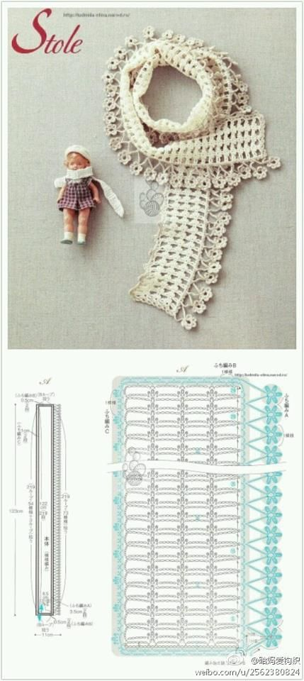 Patrones Crochet: Patron Bufanda Flores Colgando | szale ...
