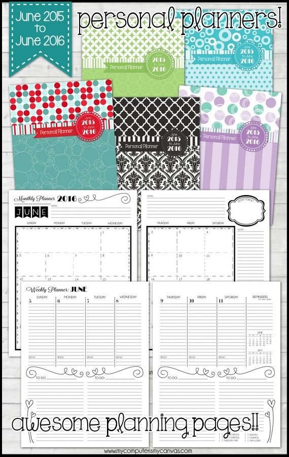 Awesome Personal Planner Printable Runs June  To June