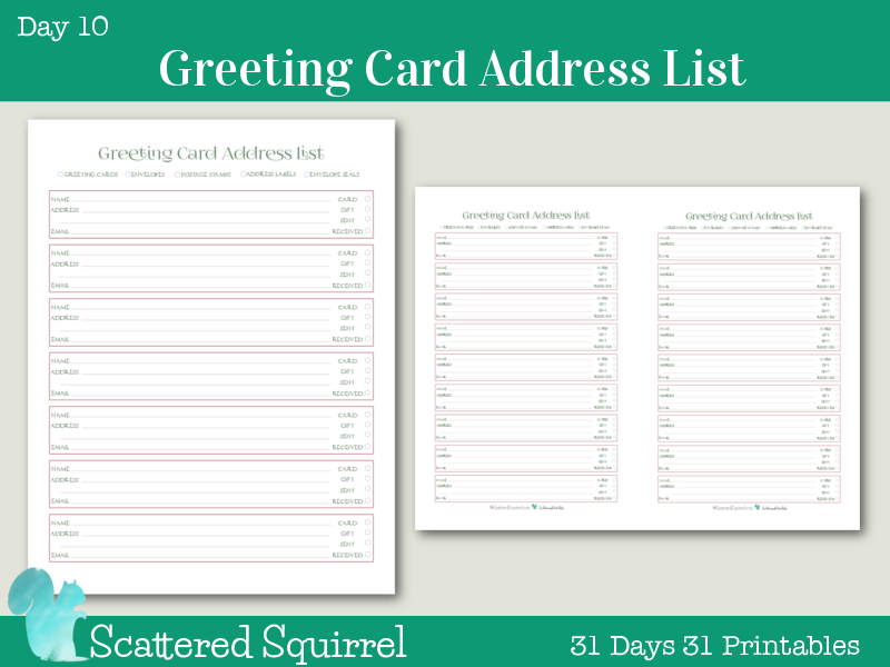 Day  Greeting Card Address List  Holiday Planner Planners And