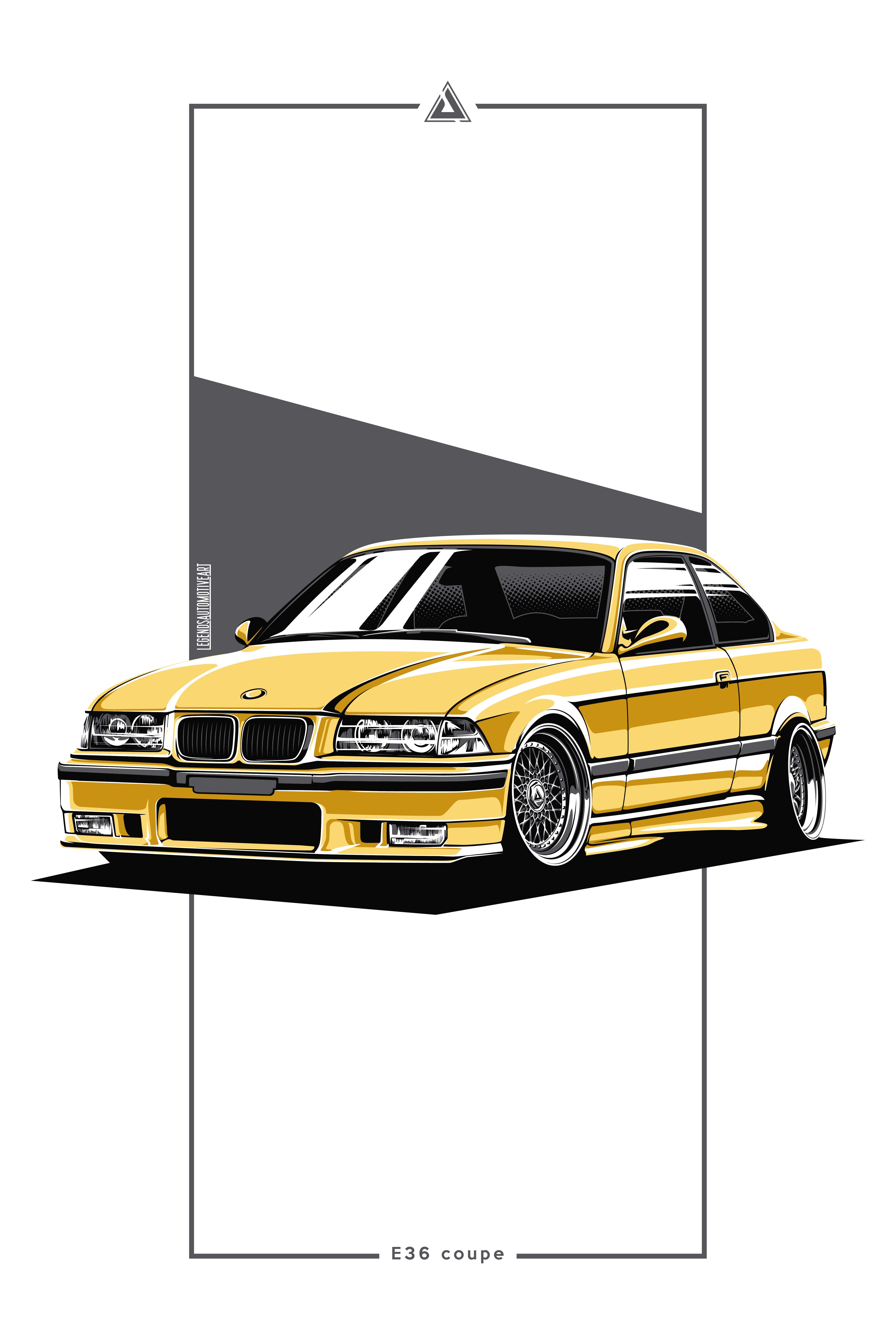 This high-quality A2 print features the iconic BMW E36 Coupe depicted in this high-quality rendering and presentation exclusively by Legends Automotive Art. A2 (594 x 420 mm). Limited edition print of 100 pieces. High-quality print with gloss finish with border. Printed on high-quality 200gsm paper. #BMW #poster #BBS #e36 #coupe #DakarYellow #S62B44 #fitment #lowcar #car #carcult #m3 #RS #HellaBlack #forinterior #LAA