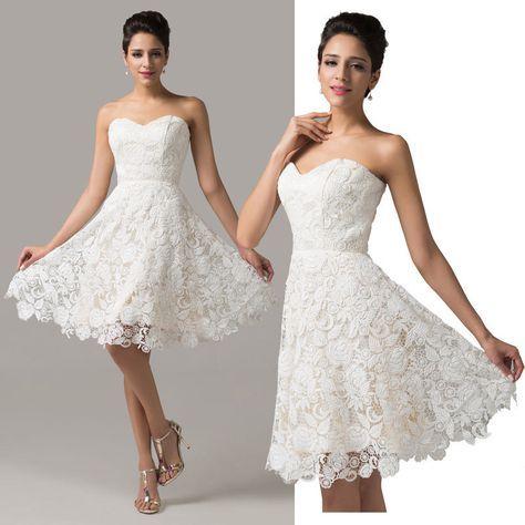 Spitze kurz Ballkleider Partei Brautkleid Abendkleid ...