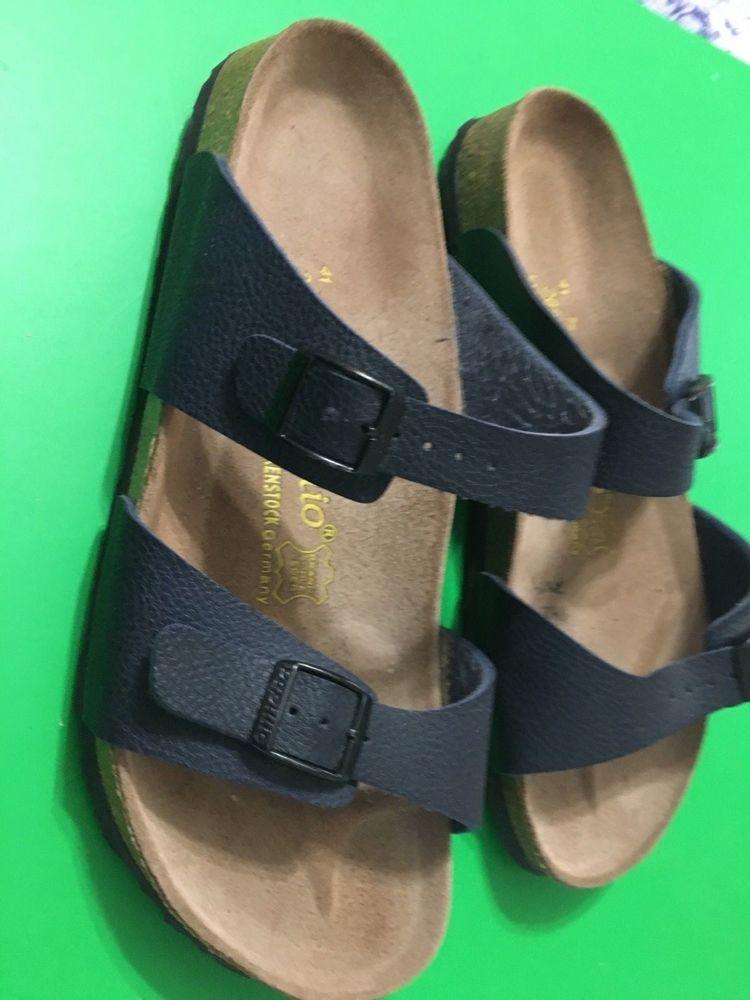 6257ced97329 Birkenstock Papillio Sandals Arizona EU 41 U.S. Size 10 Navy Blue Dbl Buckle  Ger  BirkenstockPapillio  FootbedSandals