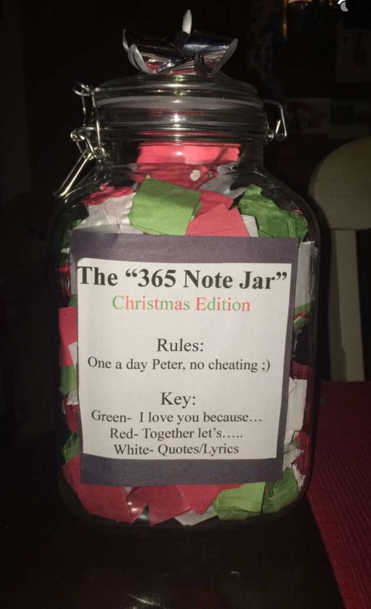 The 365 Note Jar Gifts Christmas Anniversary Forhim 365 Note Jar Homemade Gifts For Boyfriend Jar Of Notes