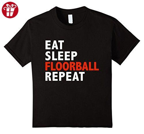 Kids Eat Sleep Floorball Repeat Funny T-shirt 4 Black (*Amazon Partner-