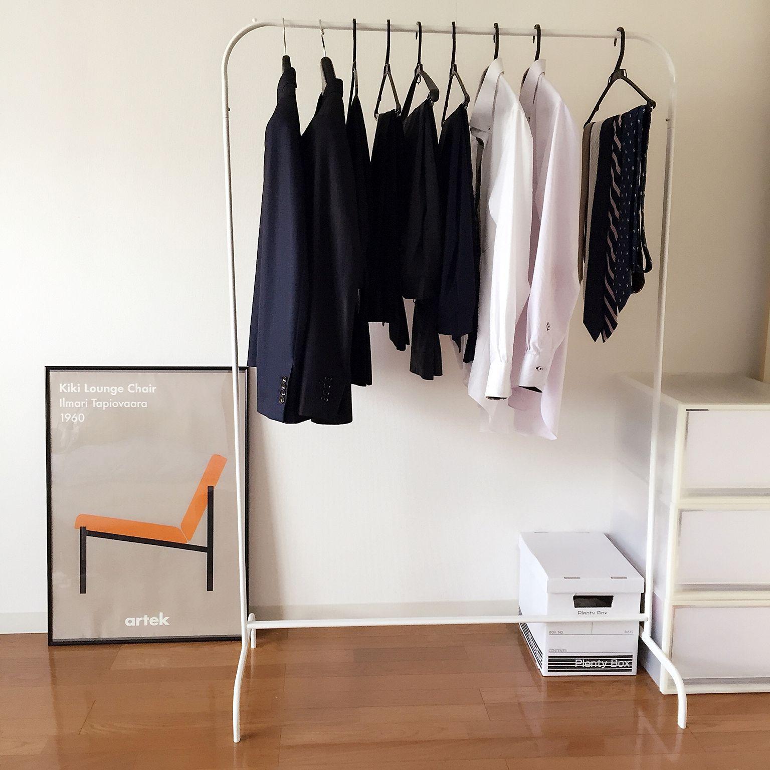 Bedroom/無印良品/ポスター/IKEA/ハンガーラック/収納.